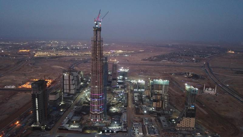 The Capital Business District (CBD) being built in Cairo's New Administrative Capital. The 20 skyscrapers in the district include the 385-metre Iconic Tower, which will be the tallest building in Africa. Photo: Dar Al Hendasah