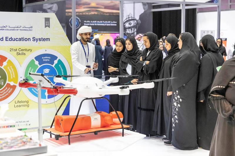 DUBAI, UNITED ARAB EMIRATES. 17 APRIL 2018. STANDALONE from the Think Science fair. Higher College of Technology stand. (Photo: Antonie Robertson/The National) Journalist: None. Section: National.