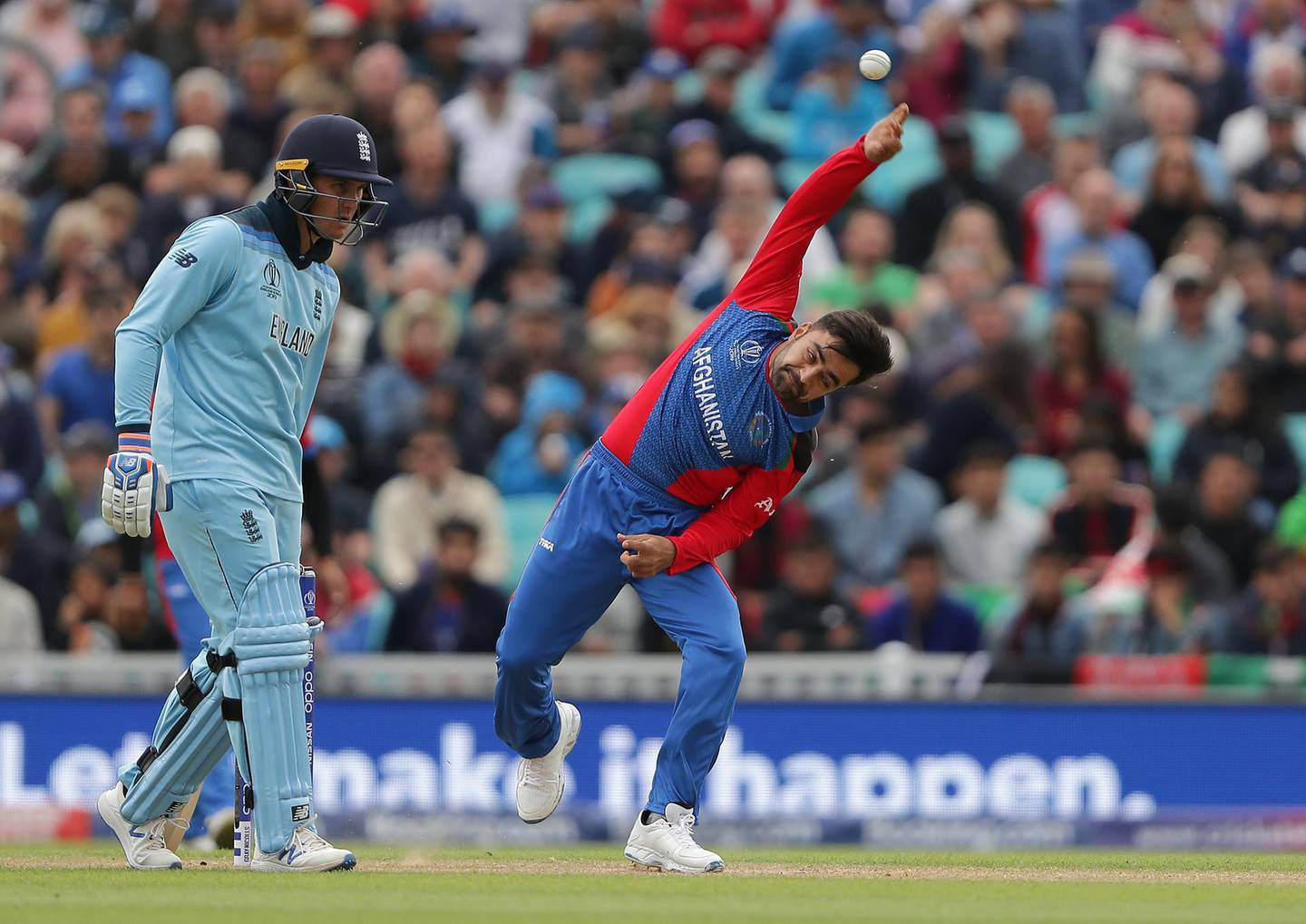 LONDON, ENGLAND - MAY 27: Rashid Khan of Afghanistan bowls during the ICC Cricket World Cup 2019 Warm Up match between England and Afghanistan at The Kia Oval on May 27, 2019 in London, England. (Photo by Richard Heathcote/Getty Images)