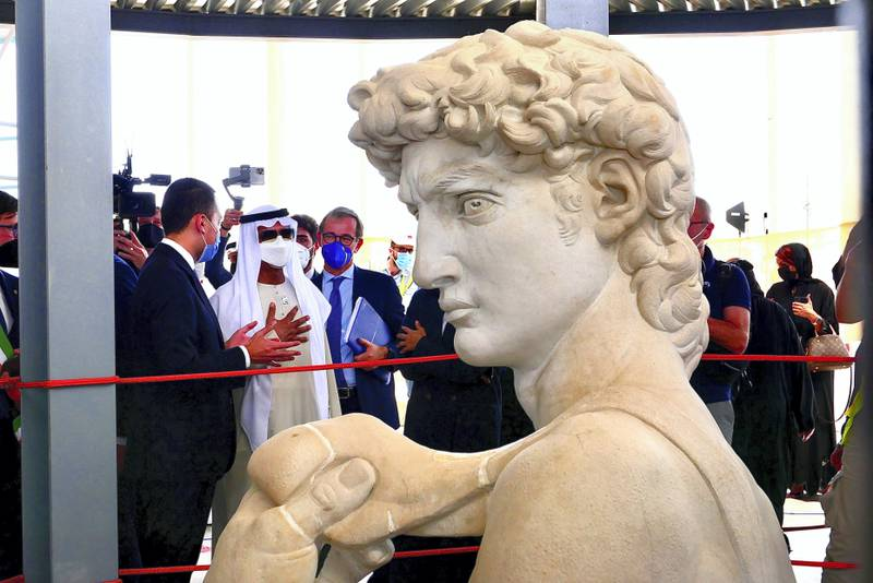 David statue unveiled at the Italy pavilion at EXPO 2020 site in Dubai on April 27,2021. Sheikh Nahyan bin Mubarak Al Nahyan the UAE's minister of tolerance, Reem Al Hashimy, UAE Minister of State for International Cooperation and other guests were also present during the unveiling ceremony. (Pawan Singh/The National) Story by Ramola