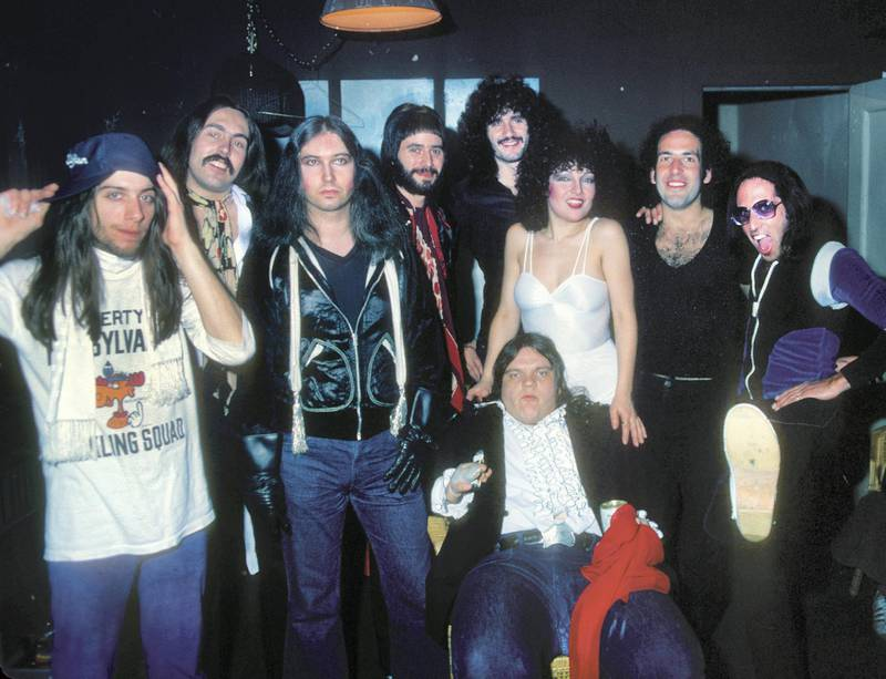 PHILADELPHIA - APRIL 6, 1978: Jim Steinmann and Meatloaf backstage with entire band at the Tower Theater in Philadelphia on April 6, 1978.(Ron Pownall/Getty Images)