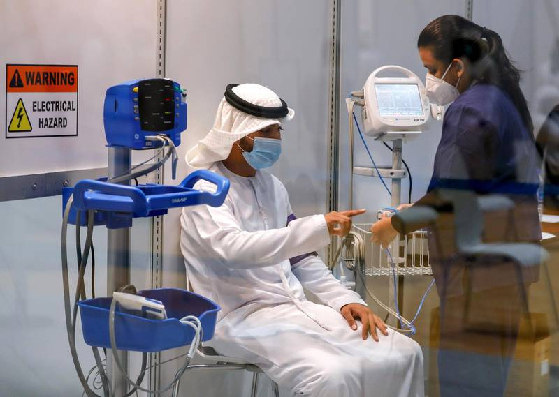 Abu Dhabi, United Arab Emirates, August 6, 2020.  A vaccine volunteer gets a medical check up at the ADNEC volunteer facility. Victor Besa /The NationalSection: NAReporter:  Shireena Al Nowais