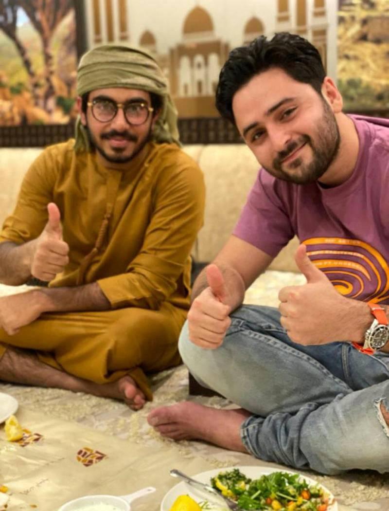 Emirati student Mansoor Al Marzooqi and Dimitri Assuline in Dubai.