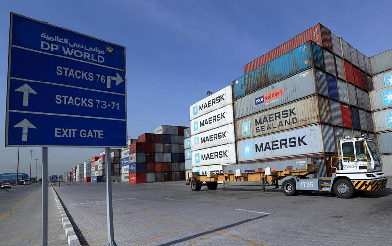 A terminal tractor passes in front of a stock yard of DP World's fully automated Terminal 2 at Jebel Ali Port in Dubai, United Arab Emirates, December 27, 2018. Picture taken December 27, 2018. REUTERS/Hamad I Mohammed