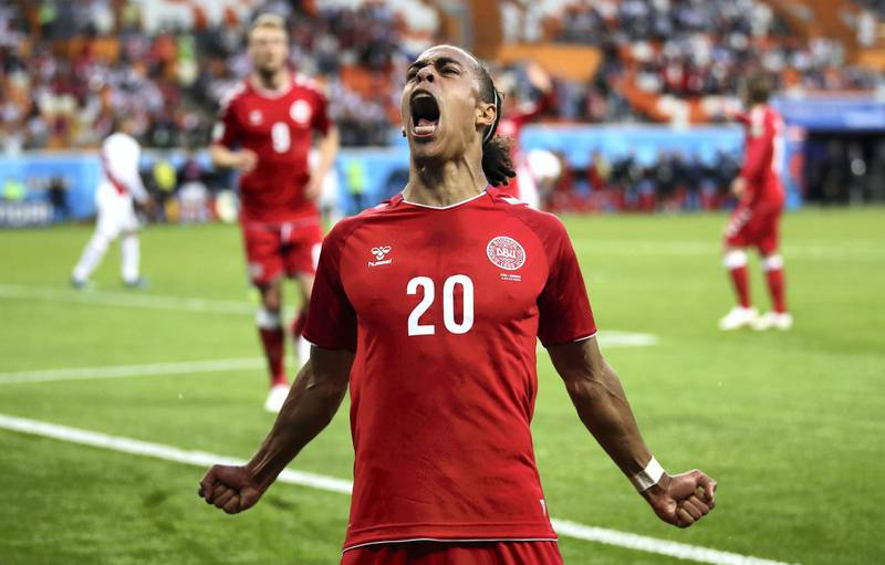 SARANSK, RUSSIA - JUNE 16:  Yussuf Yurary Poulsen of Denmark celebrates after scoring his team's first goal during the 2018 FIFA World Cup Russia group C match between Peru and Denmark at Mordovia Arena on June 16, 2018 in Saransk, Russia.  (Photo by Clive Mason/Getty Images)