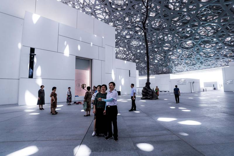 Abu Dhabi, U.A.E., September 4, 2018. The Louvre new exhibitions.--  Japanese Connections, The Birth of Modern Decor.-- Chinese tourists at the Louvré.Reporter:  Melissa GronlundSection: