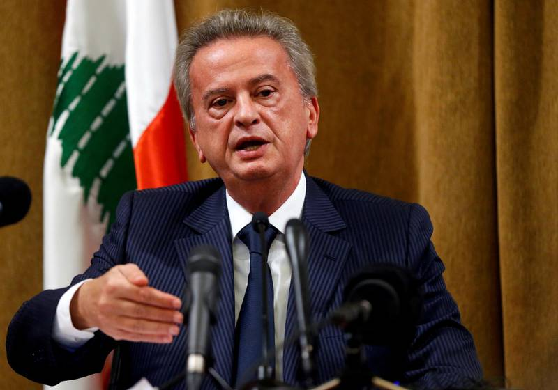 FILE PHOTO: Lebanon's Central Bank Governor Riad Salameh speaks during a news conference at Central Bank in Beirut, Lebanon, November 11, 2019. REUTERS/Mohamed Azakir/File Photo