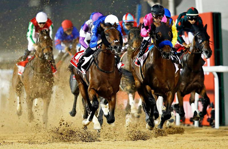 epaselect epa06640166 Christophe Soumillon on Thunder Snow (center L) from Ireland owned to UAE's Godolphin on their way winning the Dubai World Cup main race during the Dubai World Cup 2018 at the Meydan race course in Gulf emirate of Dubai, United Arab Emirates, 31 March 2018. The Dubai World Cup is one of the richest events in the horse racing sporting calendar with 30 million US dollars in prize money.  EPA/ALI HAIDER