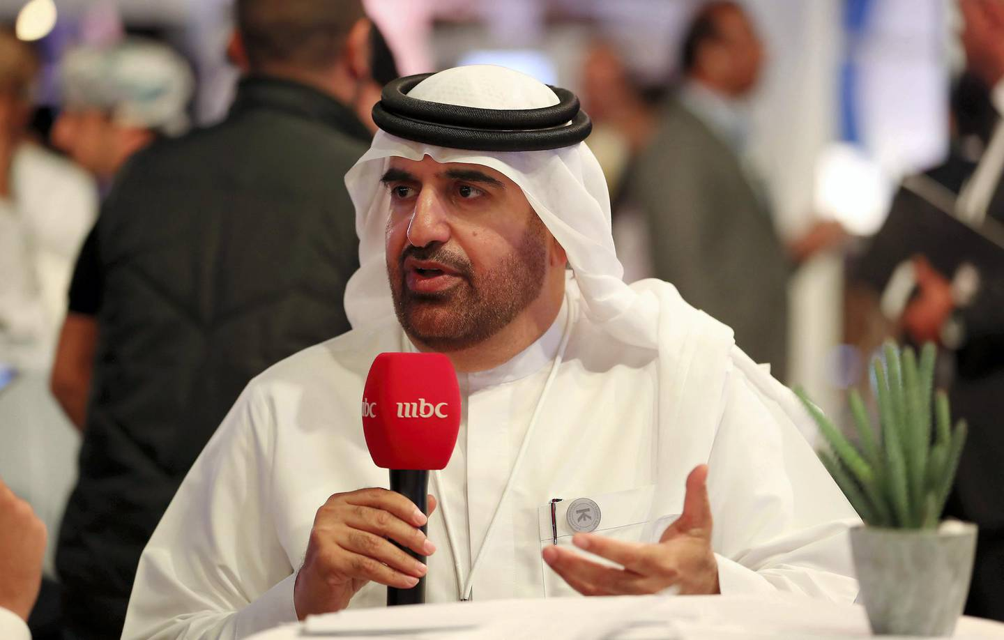 DUBAI , UNITED ARAB EMIRATES , December 5  – 2018 :- Jamal Bin Huwaireb, CEO , MBRF talking to media at the Knowledge Summit held at Dubai World Trade Centre in Dubai. ( Pawan Singh / The National ) For News. Story by Anam