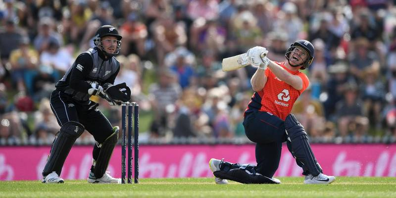 NELSON, NEW ZEALAND - NOVEMBER 05: England captain Eoin Morgan hits out for six runs during game three of the Twenty20 International series between New Zealand and England at Saxton Field on November 05, 2019 in Nelson, New Zealand. (Photo by Gareth Copley/Getty Images)