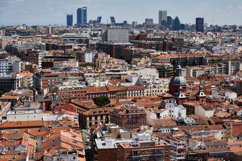 MADRID, SPAIN - JUNE 15: General view of Madrid from the terrace of the Riu Plaza España Hotel after it had been closed for three months due to the coronavirus outbreak on June 15, 2020 in Madrid, Spain. Spain has largely ended the lockdown it imposed to curb the spread of Covid-19, which caused the death of more than 27,000 people across the country. This week all regions are on Phase Two or Three, one month after all of Spain started on Phase zero on May 4, 2020. (Photo by Carlos Alvarez/Getty Images)