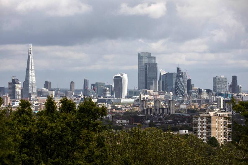 LONDON, ENGLAND  - MAY 01: A general view of the city skyline on May 01, 2020 in London, England. British Prime Minister Boris Johnson, who returned to Downing Street this week after recovering from Covid-19, said the country needed to continue its lockdown measures to avoid a second spike in infections. (Photo by Dan Kitwood/Getty Images)