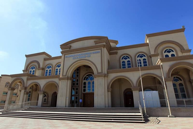 Ras Al Khaimah, February, 05, 2019: General view of the St Anthony of Padua Church in Ras Al Khaimah . Satish Kumar/ For the National / Story by Ruba Haza