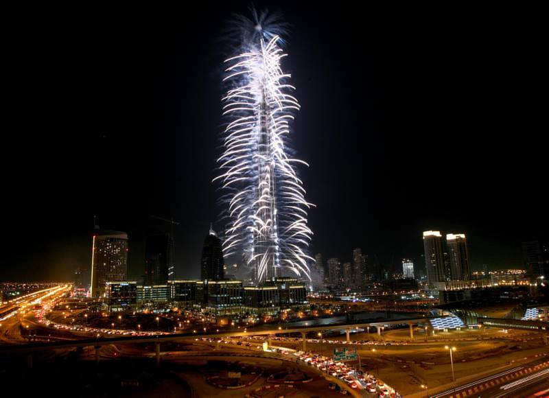 DUBAI - JANUARY 4,2010 - Colorful fireworks completes the opening of the Burj Khalifa in Dubai. ( Paulo Vecina/The National )  EDITORS NOTE: Building was opened at 8pm on January 4th, 2010 at which point the name changed from Burj Dubai to Burj Khalifa. Official name is now Burj Khalifa *** Local Caption ***  PV Fireworks 5.jpg PV Fireworks 5.jpg