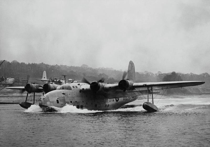 The British Overseas Airways Corporation (BOAC) Short Sandringham passenger flying boat a demilitarized conversions of the Short Sunderland military flying boat taxing for its maiden flight from the Short Brothers facility on 28 November 1945 at Rochester, United Kingdom.  (Photo by Harry Shepherd/Fox Photos/Hulton Archive/Getty Images).