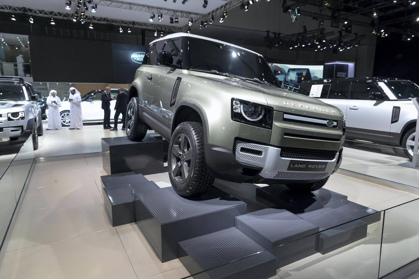 DUBAI, UNITED ARAB EMIRATES. 12 November 2019. The new Land Rover Defender at the Dubai Motor Show opening day. (Photo: Antonie Robertson/The National) Journalist: Nic Webster. Section: National.