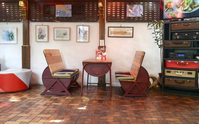 Abu Dhabi, United Arab Emirates - The Art House Cafe interior has a relaxed ambience, designed with warm colours, and supports the concept of protecting nature on March 12, 2018. (Khushnum Bhandari/ The National)