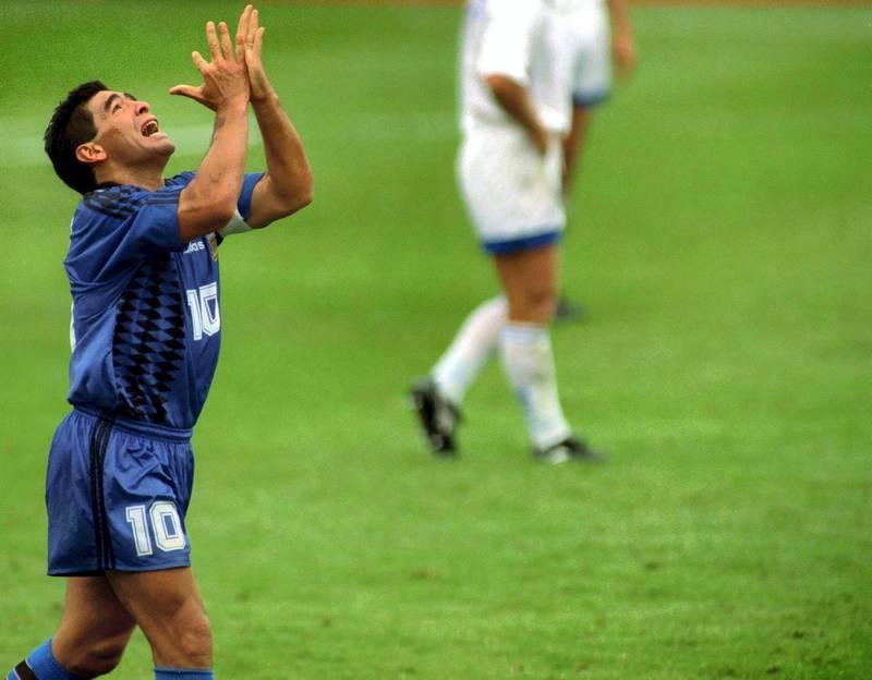 Diego Maradona Argentina Stock World Cup USA 94 Mandatory Credit : Action Images /Pic:Tony Henshaw