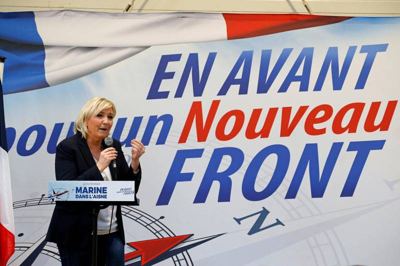 FILE PHOTO: Marine Le Pen, France's far-right National Front (FN) political party leader, speaks during a rally in  Laon, France, February 18, 2018.   Picture taken February 18, 2018.  REUTERS/Pascal Rossignol/File Photo