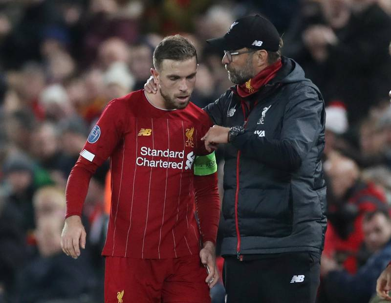Soccer Football - Champions League - Group E - Liverpool v Napoli - Anfield, Liverpool, Britain - November 27, 2019  Liverpool manager Juergen Klopp with Jordan Henderson   Action Images via Reuters/Carl Recine