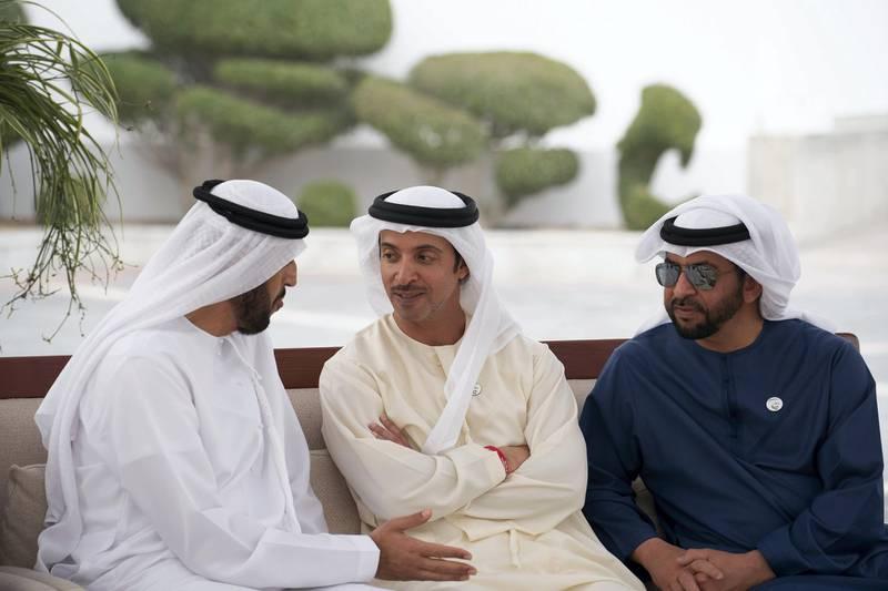 ABU DHABI, UNITED ARAB EMIRATES - February 11, 2019: HH Sheikh Abdullah bin Rashid Al Mu'alla, Deputy Ruler of Umm Al Quwain, HH Sheikh Hazza bin Zayed Al Nahyan, Vice Chairman of the Abu Dhabi Executive Council and HH Sheikh Hamdan bin Zayed Al Nahyan, Ruler's Representative in Al Dhafra Region, attend a Sea Palace barza.   ( Ryan Carter / Ministry of Presidential Affairs )? ---