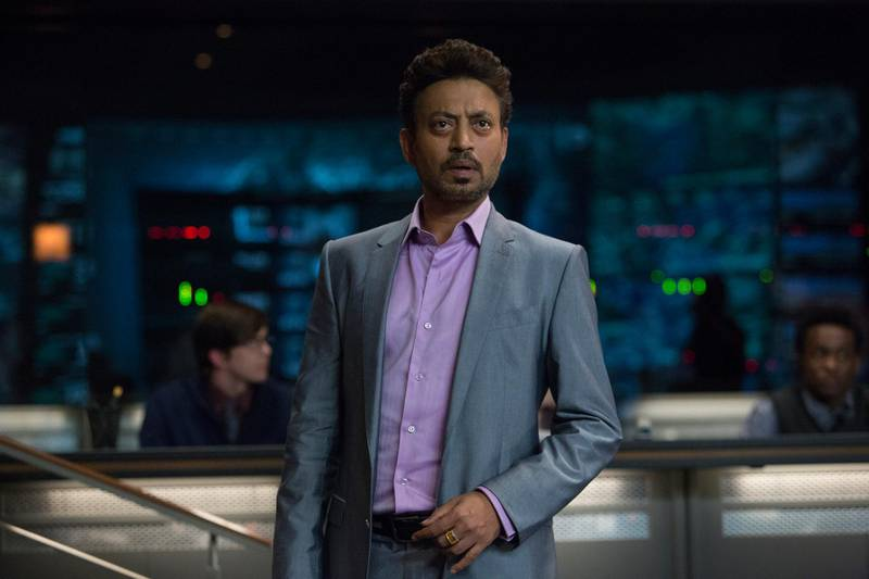 """A handout movie still showing IRRFAN KHAN as billionaire investor Masrani in """"Jurassic World"""". Steven Spielberg returns to executive produce the long-awaited next installment of his groundbreaking """"Jurassic Park"""" series. Colin Trevorrow directs the epic action-adventure, and Frank Marshall and Patrick Crowley join the team as producers. (Chuck Zlotnick / Universal Pictures) *** Local Caption ***  al07jl-crowns-irrfan.JPG"""