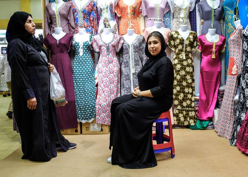Abu Dhabi, United Arab Emirates, January 5, 2020.  Photo essay of Global Village.--   Hadeir Ibrahim, 25, Egypt.  Has been working at the Global Village Sultana Garments shop which her mother owns for 10 years now.  She has now taken over the shop.Victor Besa / The NationalSection:  WKReporter:  Katy Gillett