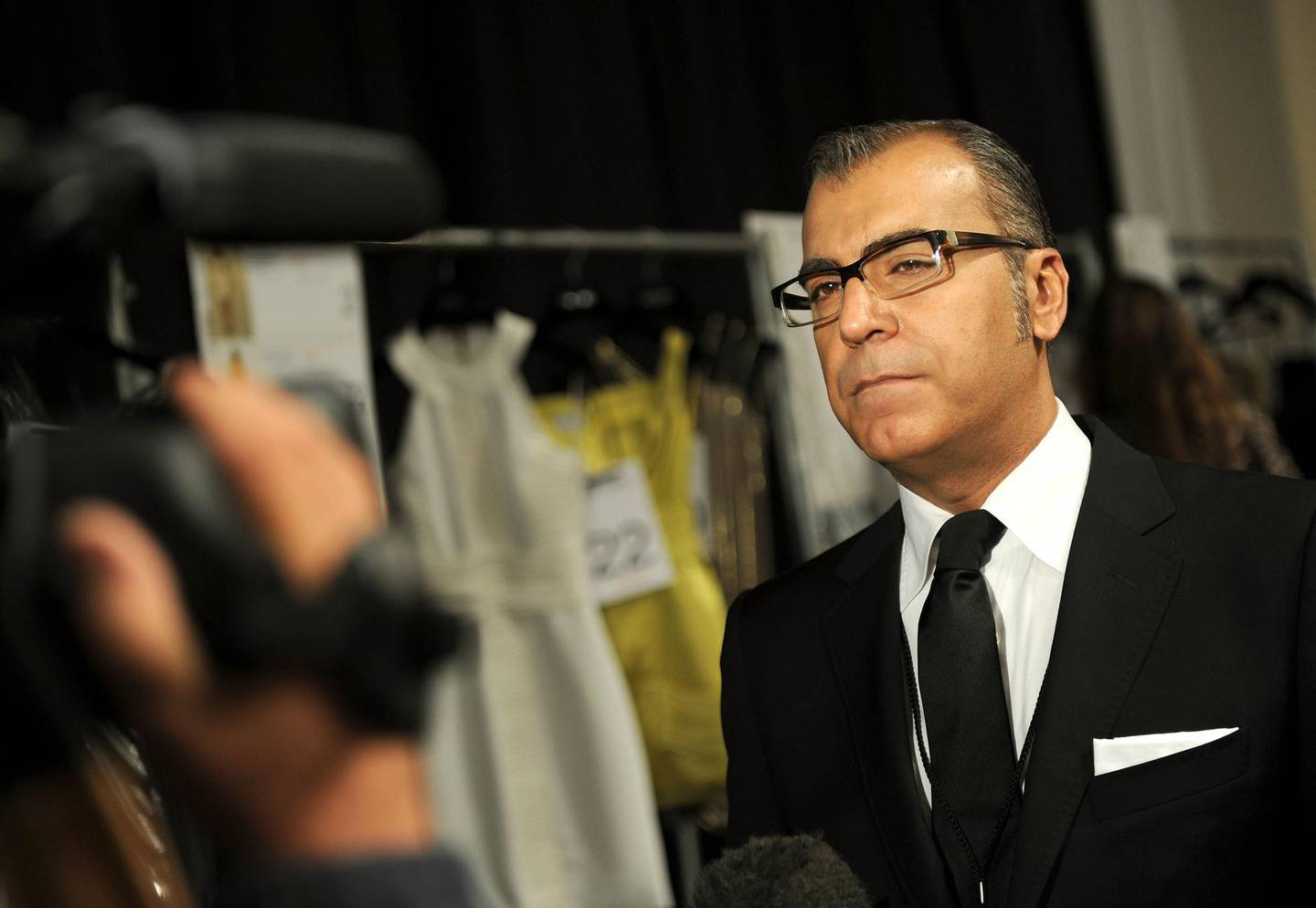 NEW YORK - SEPTEMBER 10:  Designer Georges Chakra is interviewed backstage at the Edition by Georges Chakra Spring 2011 fashion show during Mercedes-Benz Fashion Week  at The Stage at Lincoln Center on September 10, 2010 in New York City.  (Photo by Jason Kempin/Getty Images for IMG)