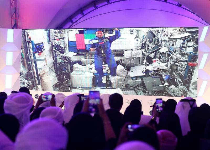 Dubai, United Arab Emirates - September 27, 2019: Live call with Hazza Al Mansouri. The Emirati astronaut will be answering some questions from space. Friday the 27th of September 2019. Mohammed Bin Rashid Space Centre, Dubai. Chris Whiteoak / The National