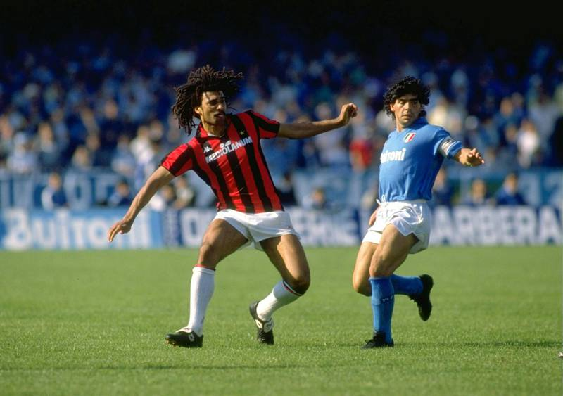 May 1988:  Ruud Gullit of AC Milan and Diego Maradona in action during the Italian Serie A in Napoli, Italy. Milan won the match 3-2. \ Mandatory Credit: Allsport UK /Allsport