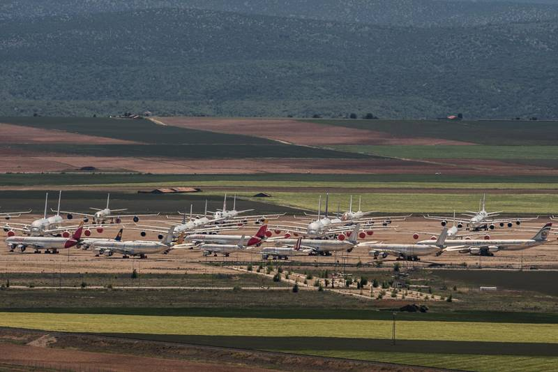 TERUEL, SPAIN - MAY 18:  Passenger aircraft operated by Europe's major carriers stand parked in a storage facility operated by TARMAC Aerosave at Teruel Airport on May 18, 2020 in Teruel, Spain. The airport, which is used for aircraft maintenance and storage, has received increased demand as the Covid-19 pandemic forces the world's major carriers to ground planes. (Photo by David Ramos/Getty Images)