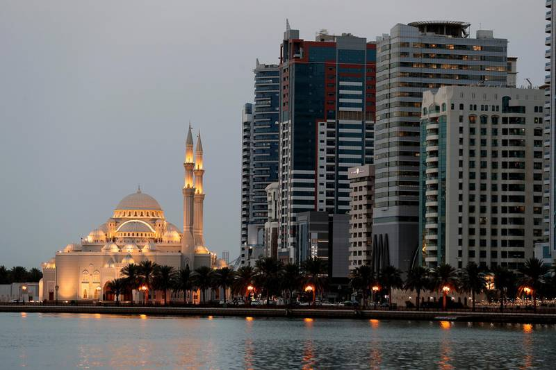 Sharjah, United Arab Emirates - Reporter: N/A. News. AlNoor Mosque in Sharjah on the second day of Ramadan after sunset. Wednesday, April 14th, 2021. Sharjah. Chris Whiteoak / The National