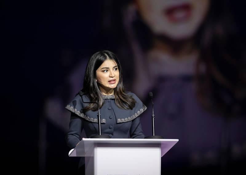 DUBAI, UNITED ARAB EMIRATES. 16 FEBRUARY 2020. Saida Mirziyoyeva, Member of the Commission on Gender Equality, Republic of Uzbekistan, speaking at Global Women's Forum Dubai.(Photo: Reem Mohammed/The National)Reporter:Section: