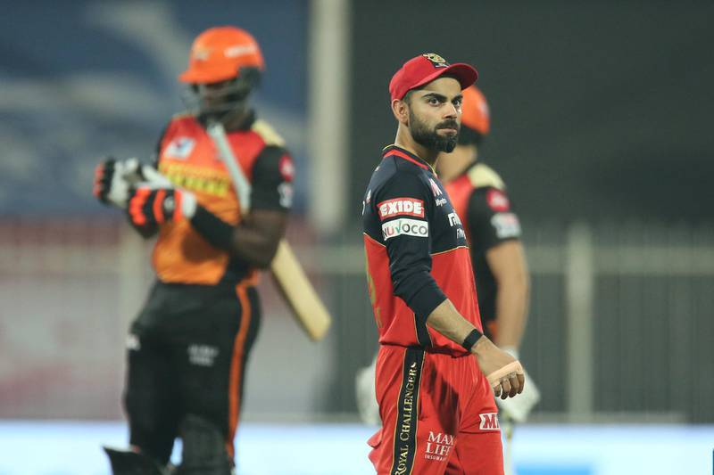 Virat Kohli captain of Royal Challengers Bangalore reacts during match 52 of season 13 of the Dream 11 Indian Premier League (IPL) between the Royal Challengers Bangalore and the Sunrisers Hyderabad held at the Sharjah Cricket Stadium, Sharjah in the United Arab Emirates on the 31st October 2020.  Photo by: Deepak Malik  / Sportzpics for BCCI