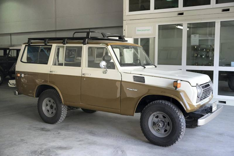 DUBAI, UNITED ARAB EMIRATES. 04 FEBRUARY 2018. Workshop visit to Dubai company Sebsports that restores vintage Land Rovers And Toyota Land Cruisers to concours standard at their Al Quoz workshop. A Land Cruiser Fj55 1978 with 77000km's in the original enige.Left hand drive model. (Photo: Antonie Robertson/The National) Journalist: Adam Workman. Section: Motoring.