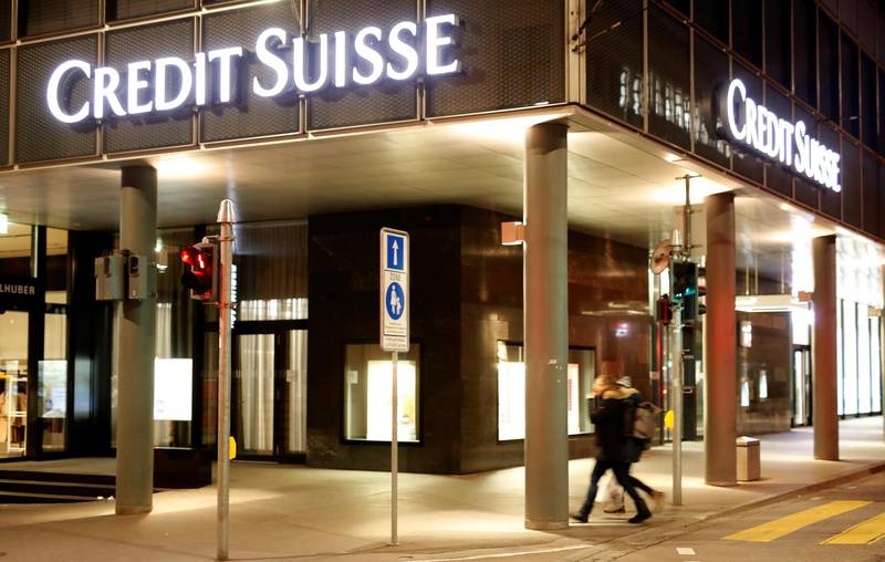 The logo of Swiss bank Credit Suisse is seen at a branch office in Basel, Switzerland March 2, 2020. REUTERS/Arnd Wiegmann