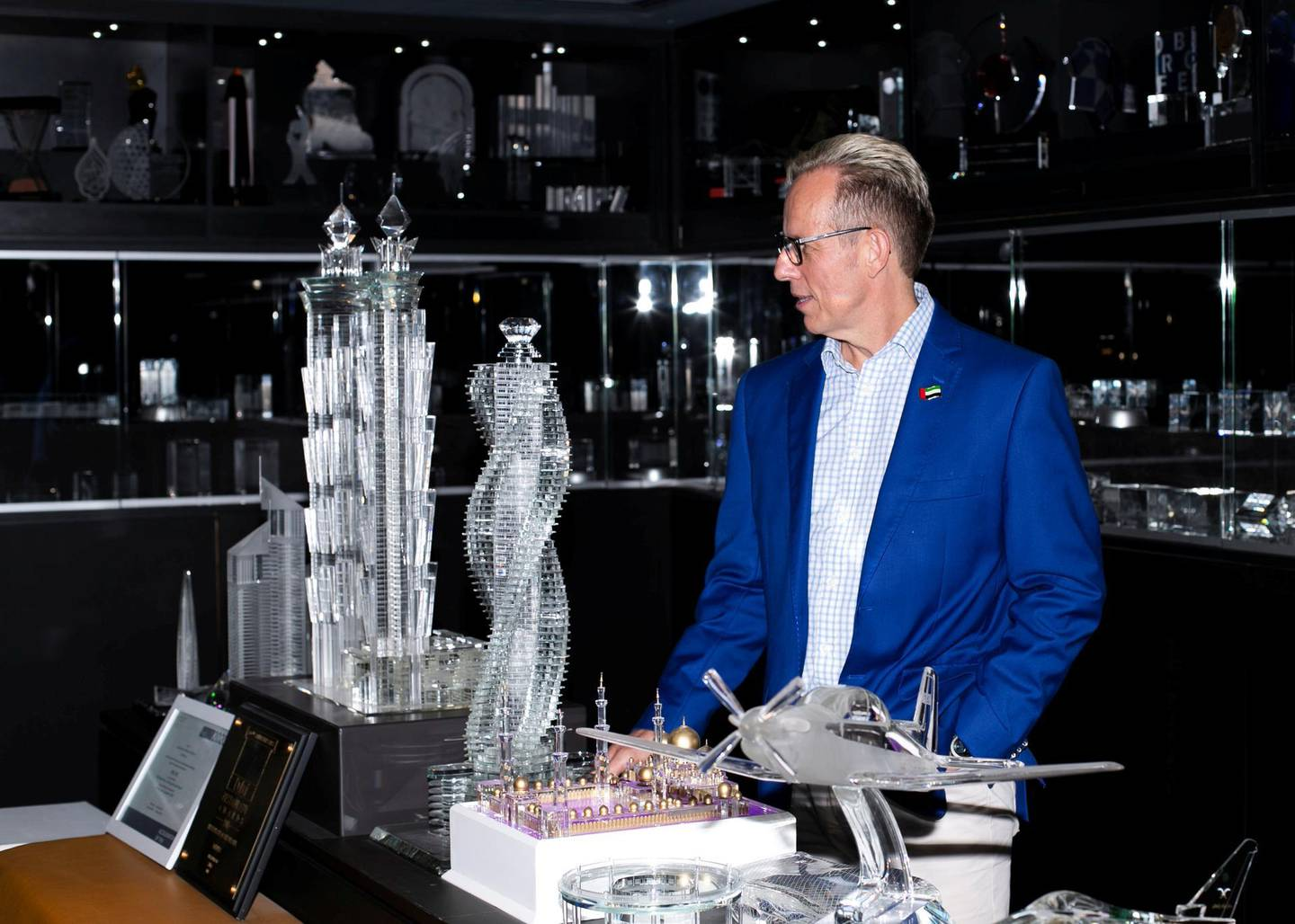 DUBAI, UNITED ARAB EMIRATES. 8 OCTOBER 2020. Lothar Hohmann, Owner, PRECISE Trading LLC, a company that produces laser engraved 2D and 3D portraits, trophies, awards, corporate gifts and mementos made of optical crystal.(Photo: Reem Mohammed/The National)Reporter:Section: