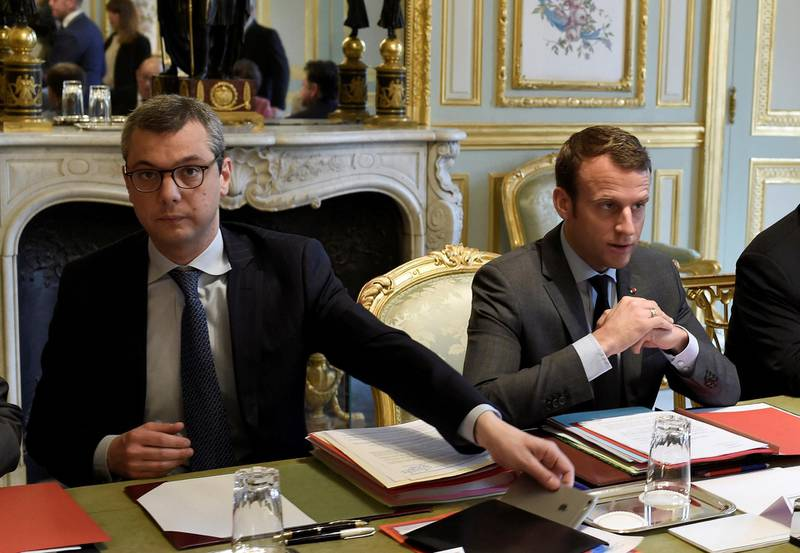 FILE PHOTO: French President Emmanuel Macron and Secretary General of the Elysee Palace, Alexis Kohler attend a Defense Council at the Elysee Palace in Paris, France, May 24, 2017.  Picture taken May 24, 2017.   REUTERS/Stephane De Sakutin/Pool/File Photo