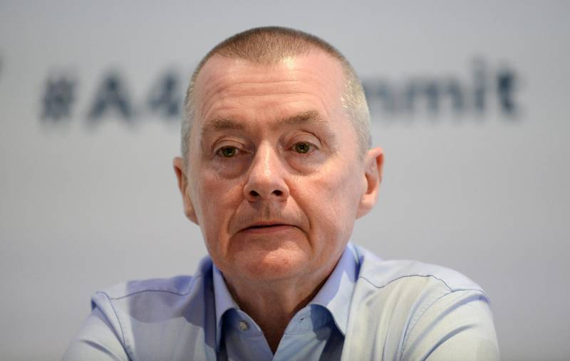 FILE PHOTO: Willie Walsh, head of the International Air Transport Association (IATA), attends a meeting in Brussels, Belgium, March 3, 2020. REUTERS/Johanna Geron/File Photo