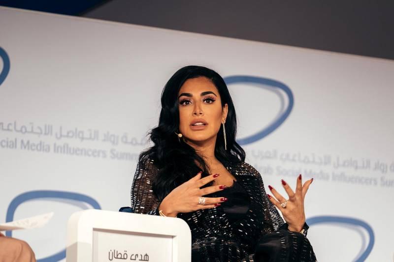 10.12.18 Arab social media influencers summit, held in Dubai world trade centre, Zabeel hall 2. This is a talk with Huda beauty. From L: Diala Makki, Huda Kattan and Mona Kattan.  Anna Maria Nielsen For The National.