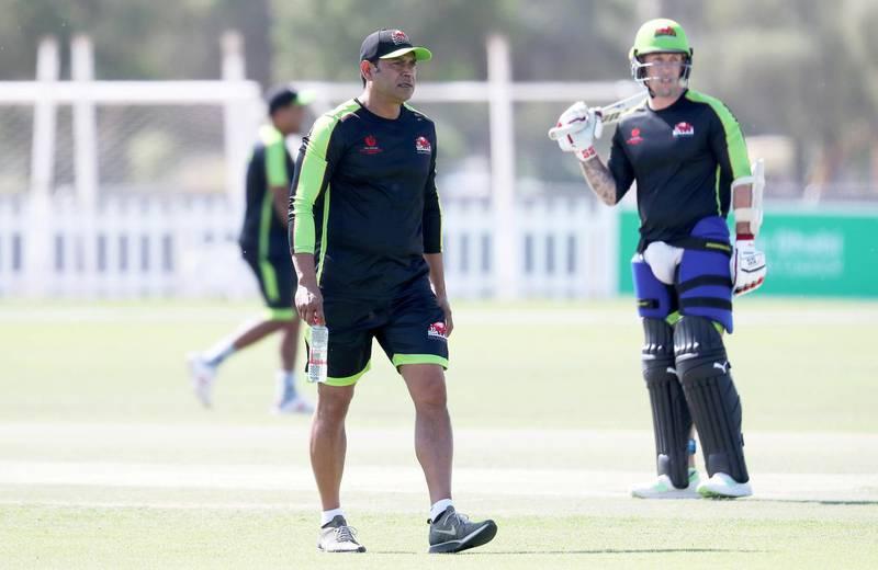 ABU DHABI, UNITED ARAB EMIRATES , Nov 13  – 2019 :- Aqib Javed , coach of  Qalandars T10 cricket team during the training session held at Sheikh Zayed Cricket Stadium in Abu Dhabi. ( Pawan Singh / The National )  For Sports. Story by Paul