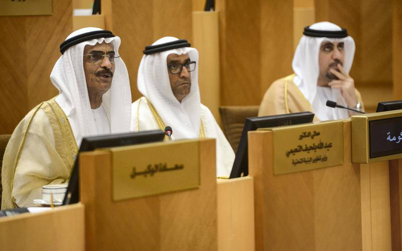 Abu Dhabi, United Arab Emirates - H.E. Dr. Abdullah Bin Mohammed Belhaif Al Nuaimi, UAE Minister of Infrastructure deals with issues at the Federal Council meeting in Federal National Council on February 28, 2017. (Khushnum Bhandari/ The National)