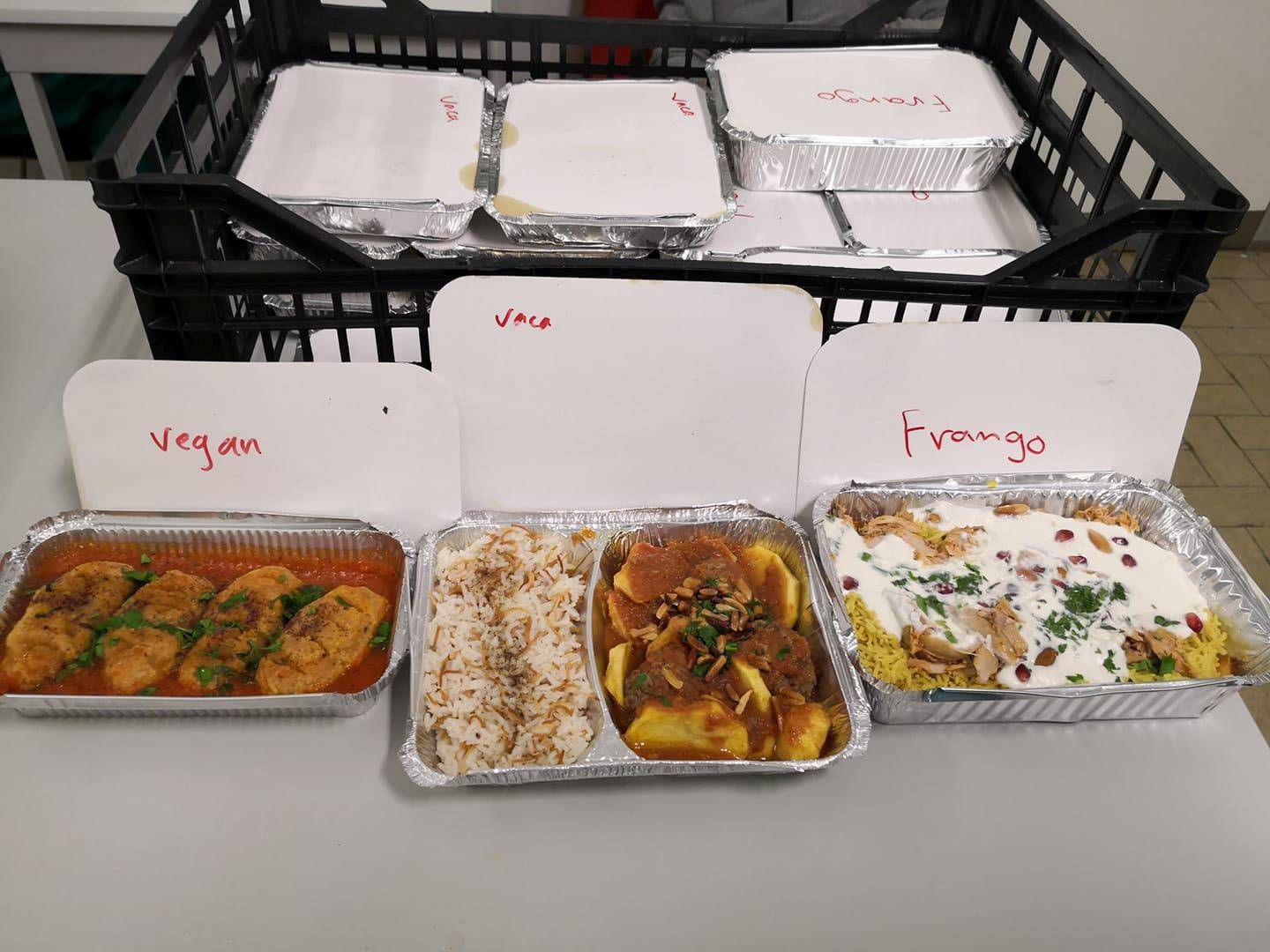 A picture shows food sent by two Syrian refugees to health workers at a hospital in Lisbon, Portugal March 27, 2020. Picture taken March 27, 2020. REUTERS/Nuno Delicado NO RESALES. NO ARCHIVES