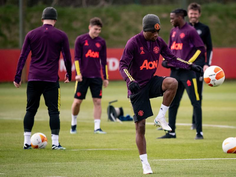 MANCHESTER, ENGLAND - APRIL 14: Amad of Manchester United in action during a first team training session at Aon Training Complex on April 14, 2021 in Manchester, England. (Photo by Ash Donelon/Manchester United via Getty Images)
