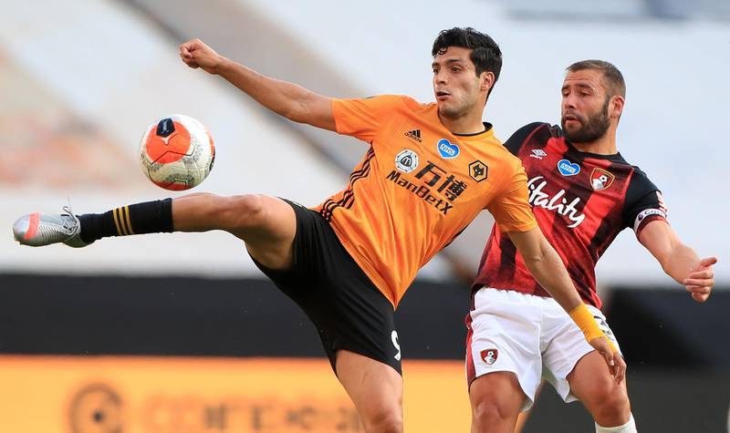 Wolverhampton Wanderers' Mexican striker Raul Jimenez (L) vies with Bournemouth's English defender Steve Cook (R) during the English Premier League football match between Wolverhampton Wanderers and Bournemouth at the Molineux stadium in Wolverhampton, central England  on June 24, 2020. RESTRICTED TO EDITORIAL USE. No use with unauthorized audio, video, data, fixture lists, club/league logos or 'live' services. Online in-match use limited to 120 images. An additional 40 images may be used in extra time. No video emulation. Social media in-match use limited to 120 images. An additional 40 images may be used in extra time. No use in betting publications, games or single club/league/player publications.  / AFP / POOL / MIKE EGERTON / RESTRICTED TO EDITORIAL USE. No use with unauthorized audio, video, data, fixture lists, club/league logos or 'live' services. Online in-match use limited to 120 images. An additional 40 images may be used in extra time. No video emulation. Social media in-match use limited to 120 images. An additional 40 images may be used in extra time. No use in betting publications, games or single club/league/player publications.