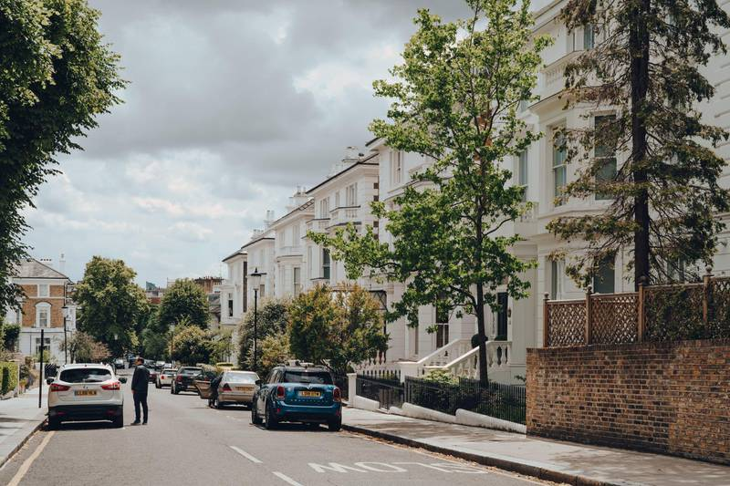 2C5R18P London, UK - June 20, 2020: Cars parked in front of white Victorian houses on a street in Holland park, an affluent area of West London. Alamy