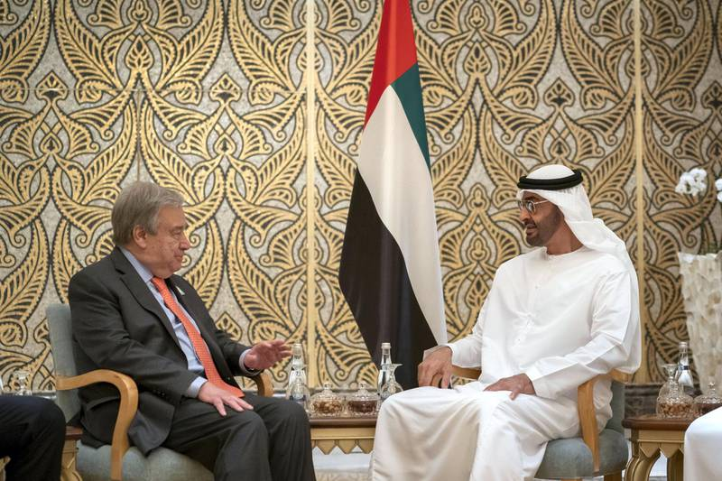 ABU DHABI, UNITED ARAB EMIRATES - June 30, 2019: HH Sheikh Mohamed bin Zayed Al Nahyan, Crown Prince of Abu Dhabi and Deputy Supreme Commander of the UAE Armed Forces (R) meets with HE Antonio Guterres, Secretary-General of the United Nations (L), at Emirates Palace.  ( Mohamed Al Hammadi / Ministry of Presidential Affairs ) ---
