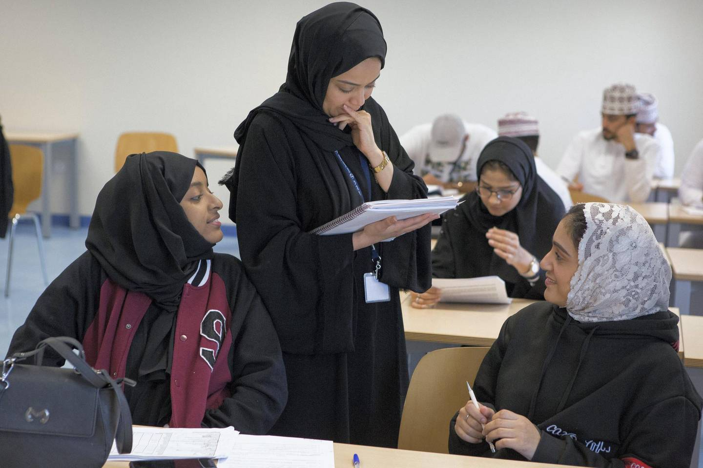 Omani students attend a lecture at the Oman Tourism College, the only college in the Sultanate of Oman specializes Tourism & Hospitality.