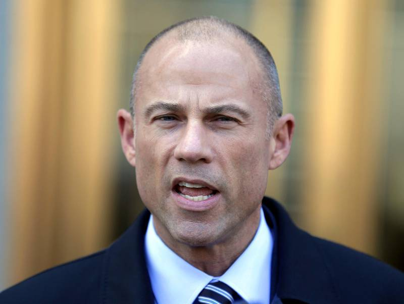 FILE - In this Thursday, April 26, 2018, file photo, Michael Avenatti, Stormy Daniels' attorney, talks to reporters outside of federal court in New York. Avenatti says he has information showing that President Donald Trump's longtime personal attorney, Michael Cohen, received $500,000 from a Russian billionaire within months of paying hush money to Daniels. (AP Photo/Seth Wenig, File)
