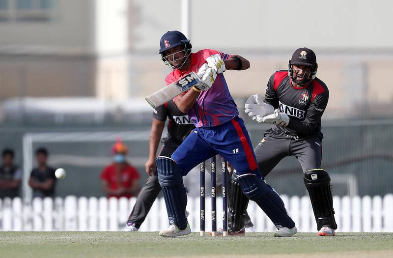 DUBAI , UNITED ARAB EMIRATES , January 28 – 2019 :- Paras Khadka of Nepal playing a shot during the one day international cricket match between UAE vs Nepal held at ICC cricket academy in Dubai. Nepal won the match by 4 wickets. Paras scored 115 runs in this match. ( Pawan Singh / The National ) For Sports. Story by Paul